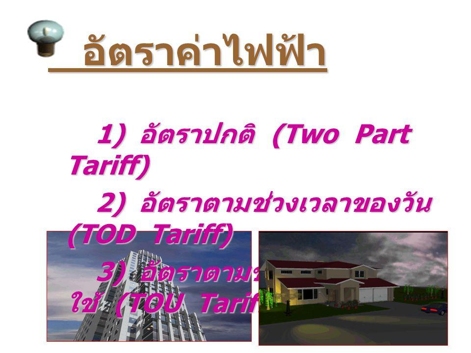 อัตราค่าไฟฟ้า 1) อัตราปกติ (Two Part Tariff)