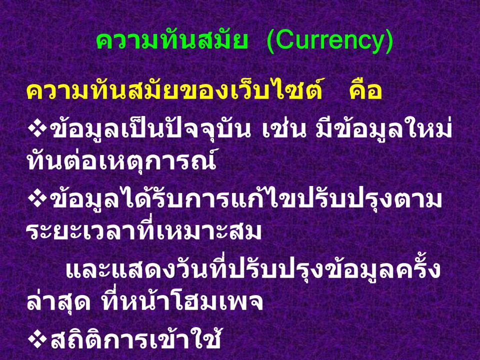 ความทันสมัย (Currency)