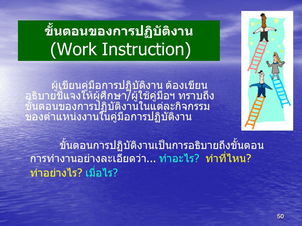 ขั้นตอนของการปฏิบัติงาน (Work Instruction)