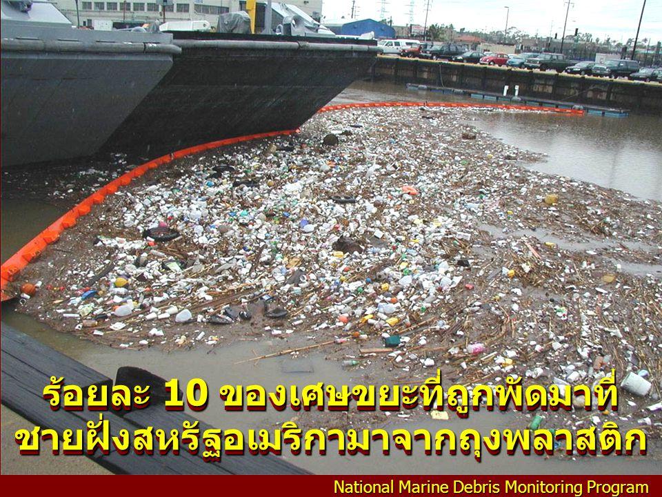 ร้อยละ 10 ของเศษขยะที่ถูกพัดมาที่ชายฝั่งสหรัฐอเมริกามาจากถุงพลาสติก