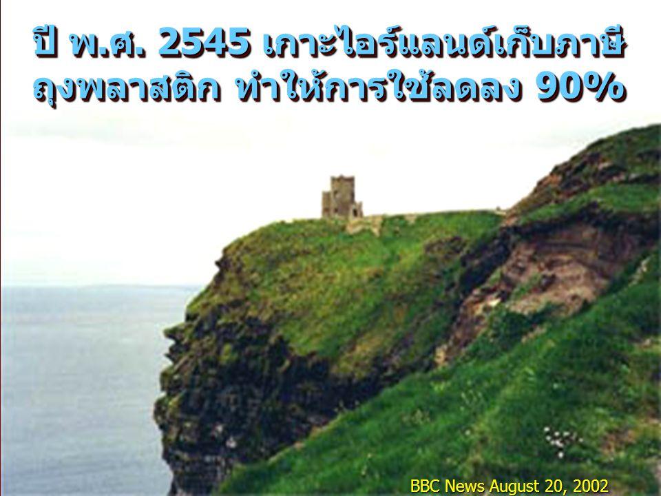 ปี พ.ศ. 2545 เกาะไอร์แลนด์เก็บภาษีถุงพลาสติก ทำให้การใช้ลดลง 90%