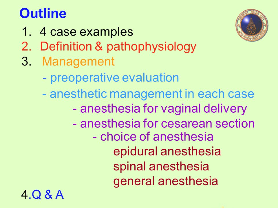 Outline 4 case examples Definition & pathophysiology 3. Management