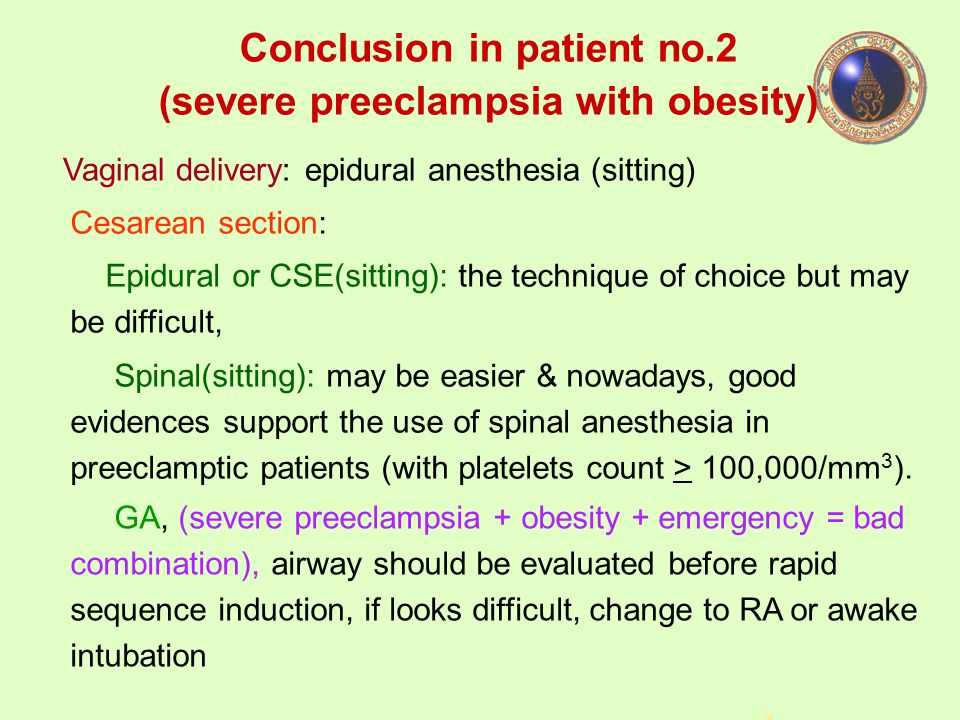 Conclusion in patient no.2 (severe preeclampsia with obesity)