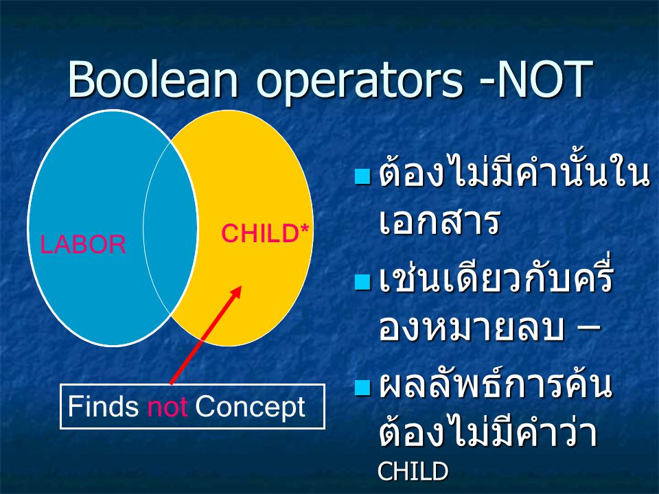 Boolean operators -NOT