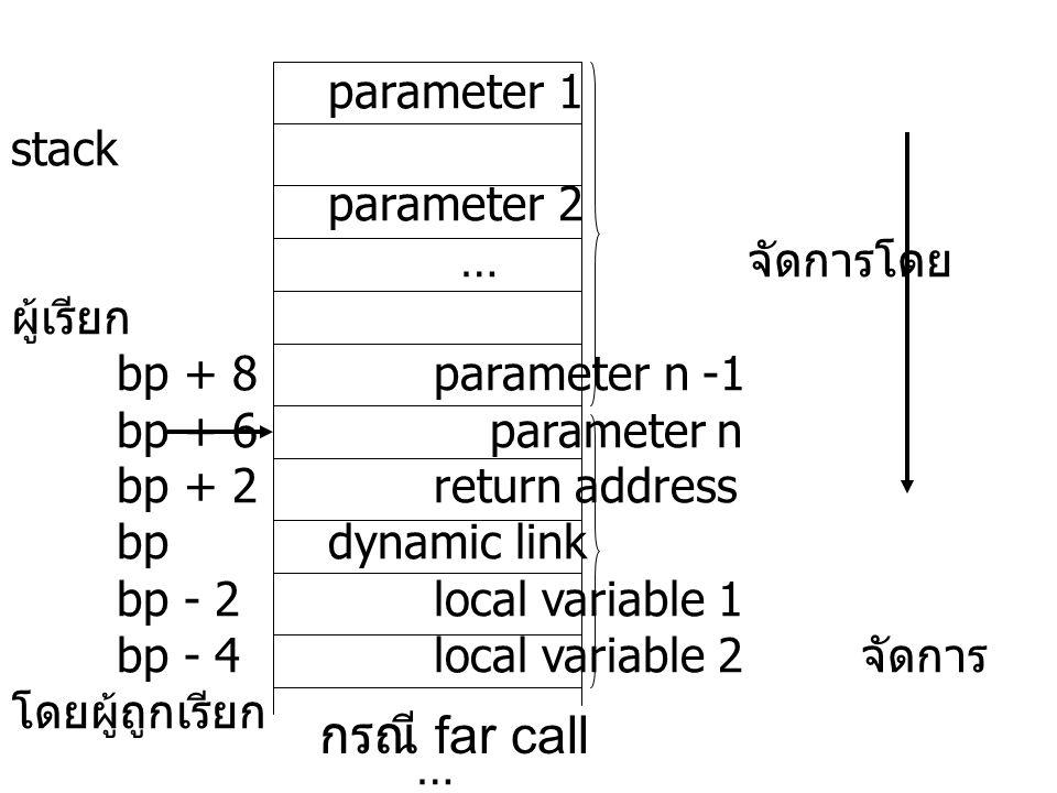 กรณี far call parameter 1 stack parameter 2 … จัดการโดยผู้เรียก