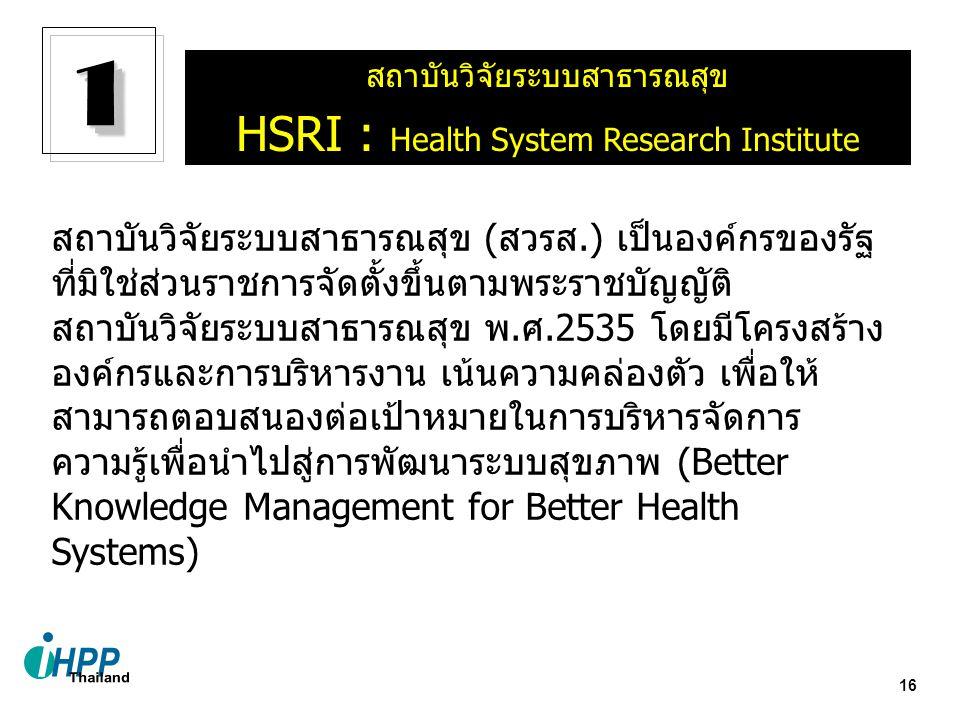 1 HSRI : Health System Research Institute