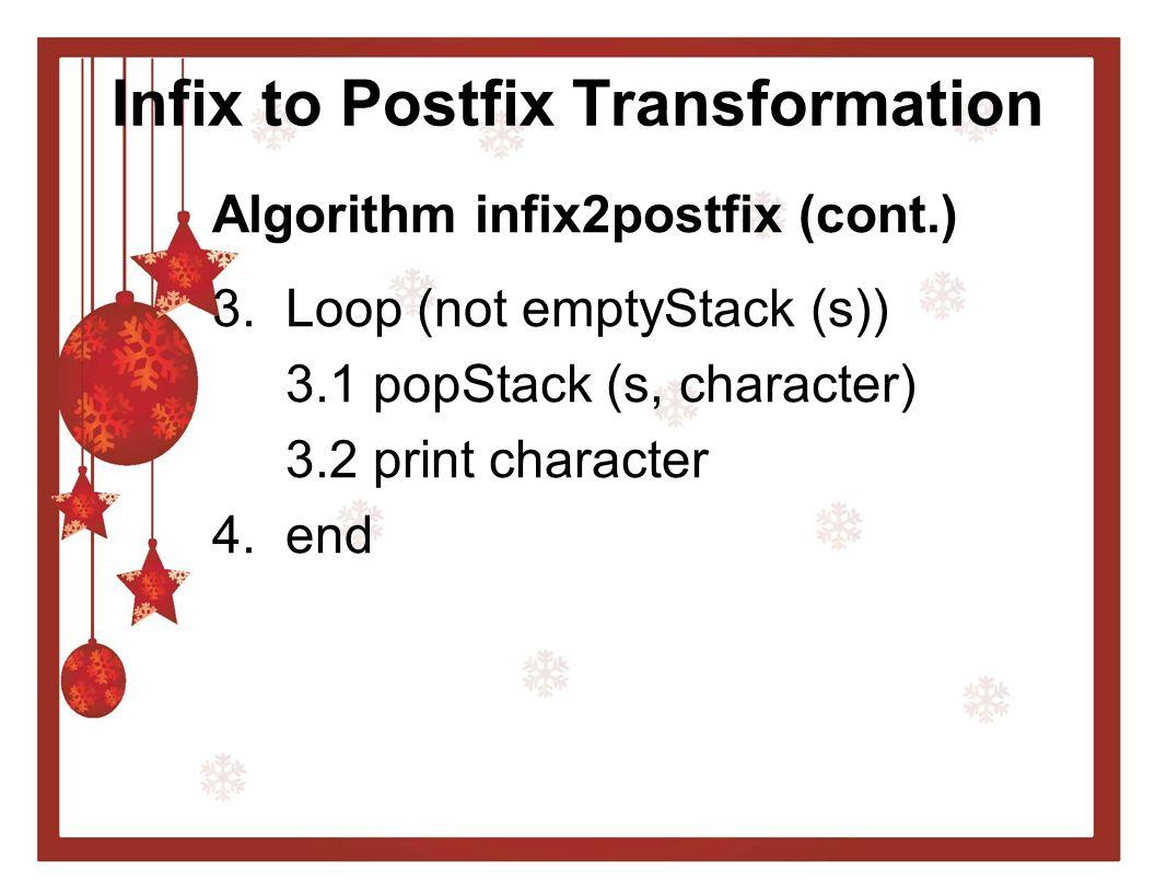 Infix to Postfix Transformation