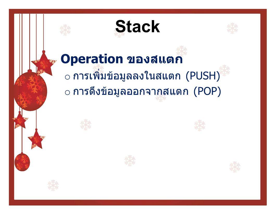 Stack Operation ของสแตก การเพิ่มข้อมูลลงในสแตก (PUSH)