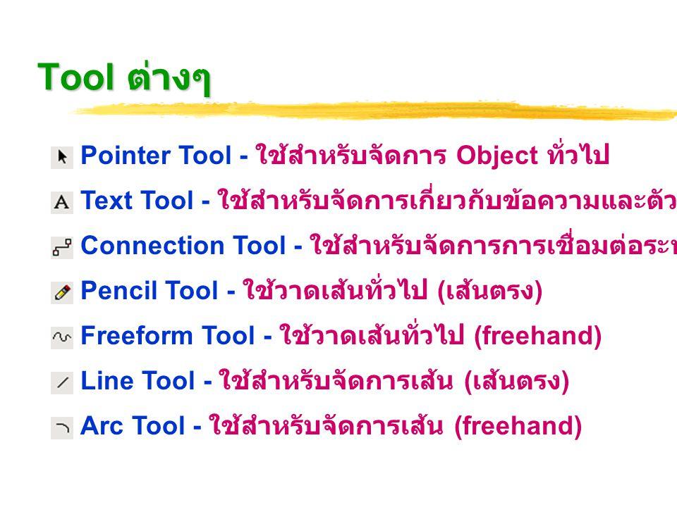 Tool ต่างๆ Pointer Tool - ใช้สำหรับจัดการ Object ทั่วไป