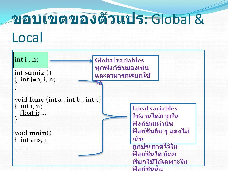 ขอบเขตของตัวแปร: Global & Local