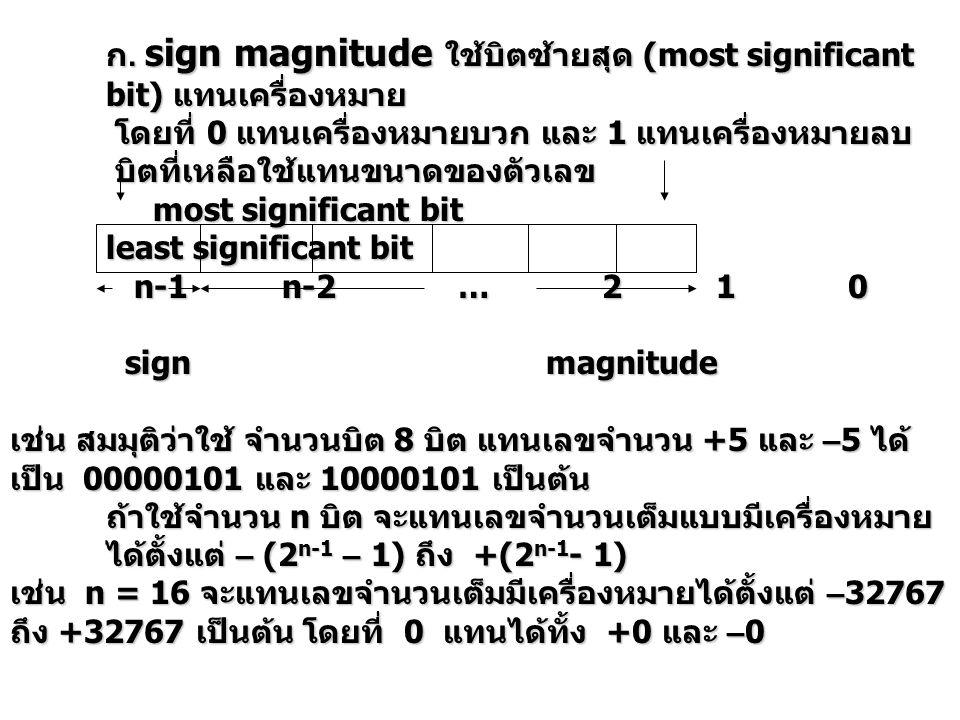 ก. sign magnitude ใช้บิตซ้ายสุด (most significant bit) แทนเครื่องหมาย