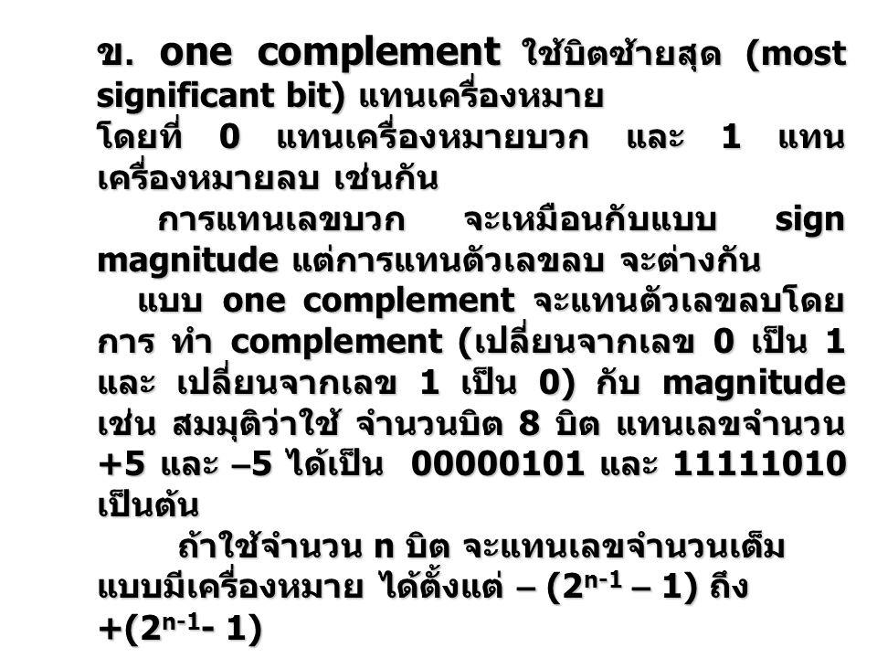 ข. one complement ใช้บิตซ้ายสุด (most significant bit) แทนเครื่องหมาย