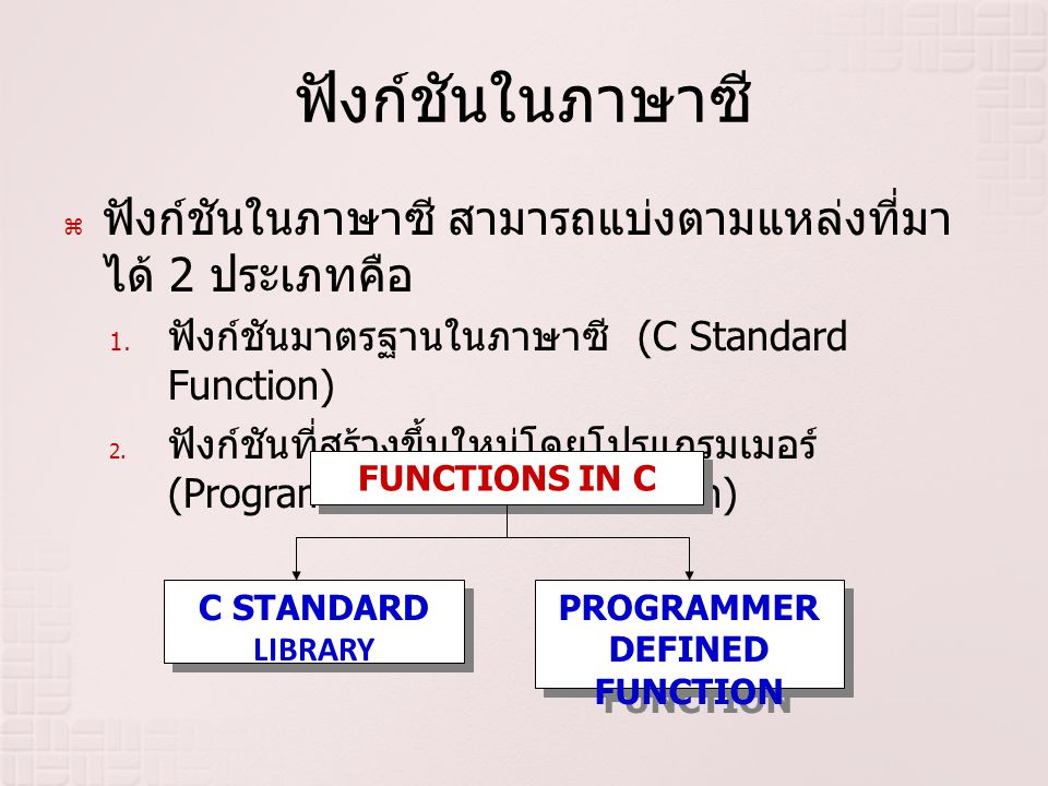 PROGRAMMER DEFINED FUNCTION