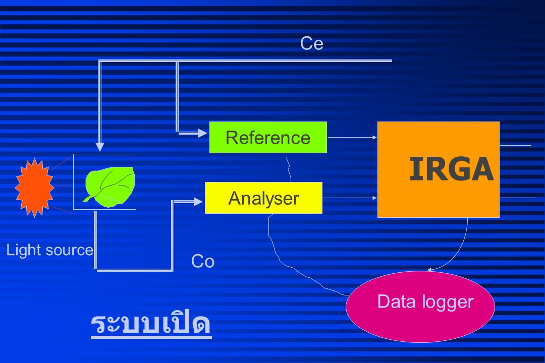 Ce Reference IRGA Analyser Light source Co Data logger ระบบเปิด