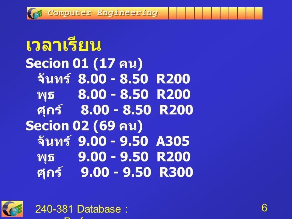 เวลาเรียน Secion 01 (17 คน) จันทร์ 8. 00 - 8. 50 R200 พุธ 8. 00 - 8