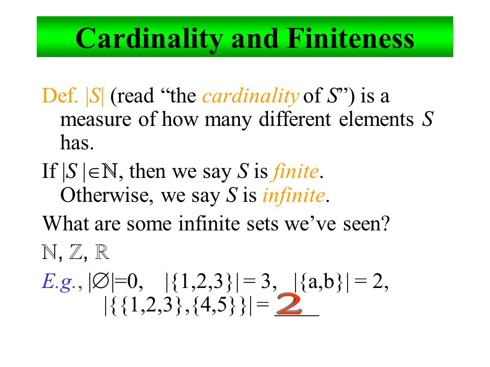 Cardinality and Finiteness