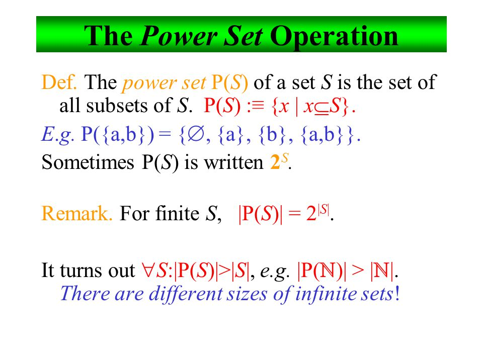 The Power Set Operation