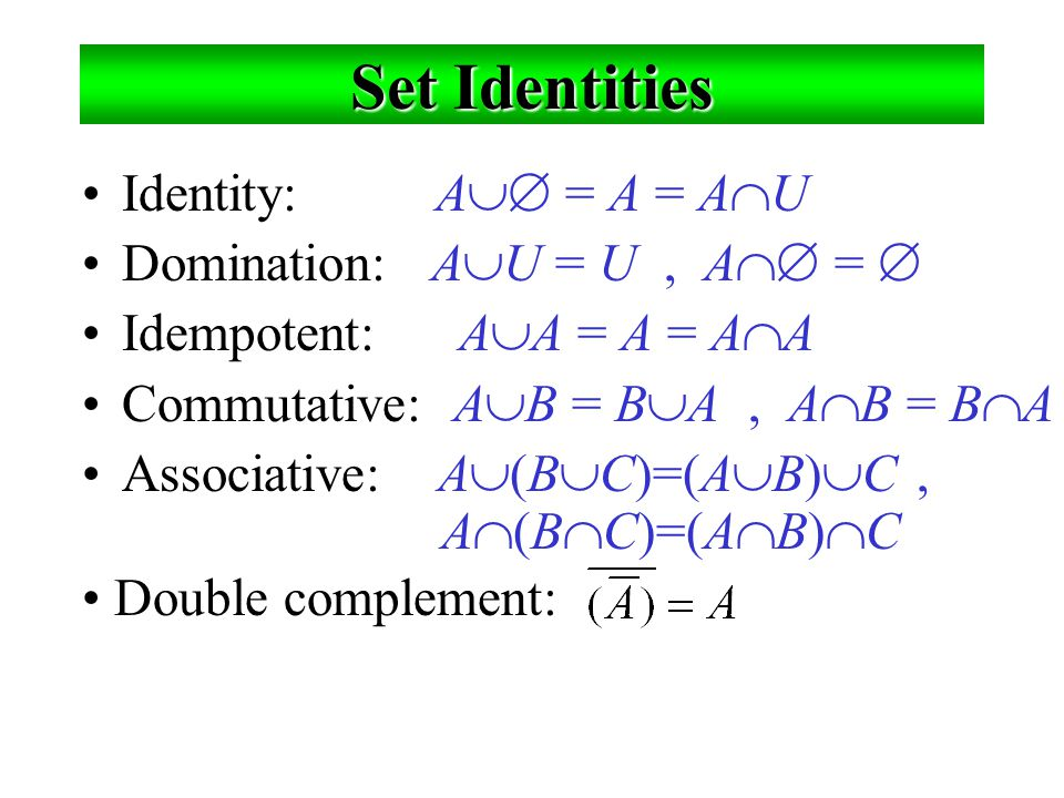 Set Identities Identity: A = A = AU Domination: AU = U , A = 