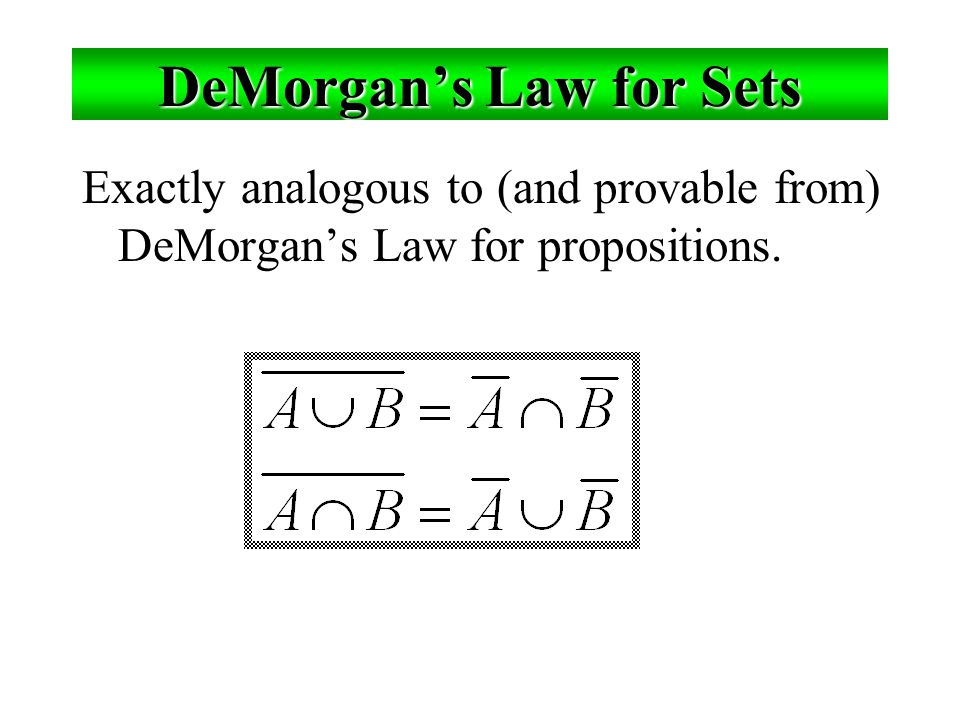 DeMorgan's Law for Sets