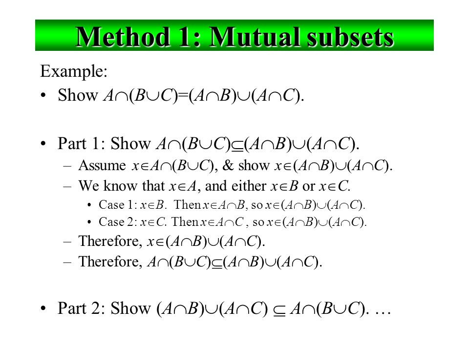 Method 1: Mutual subsets