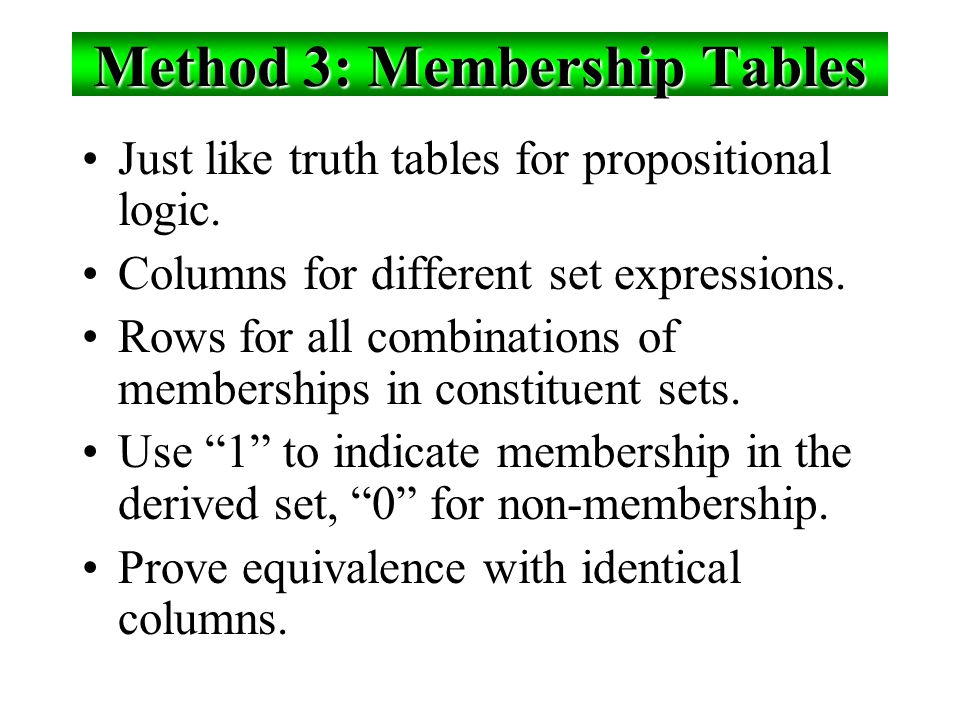 Method 3: Membership Tables