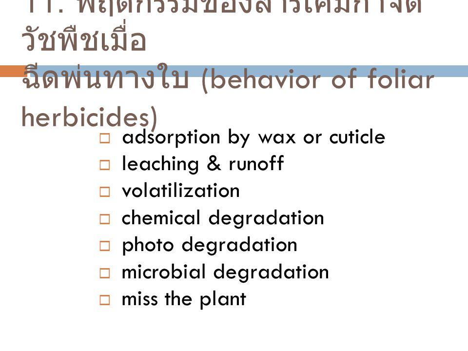 11. พฤติกรรมของสารเคมีกำจัดวัชพืชเมื่อ ฉีดพ่นทางใบ (behavior of foliar herbicides)