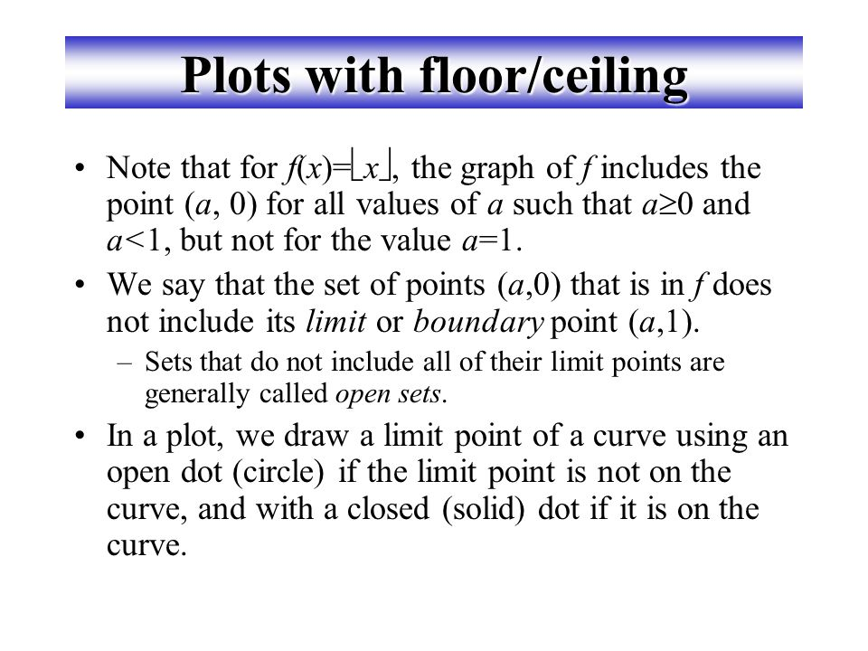 Plots with floor/ceiling