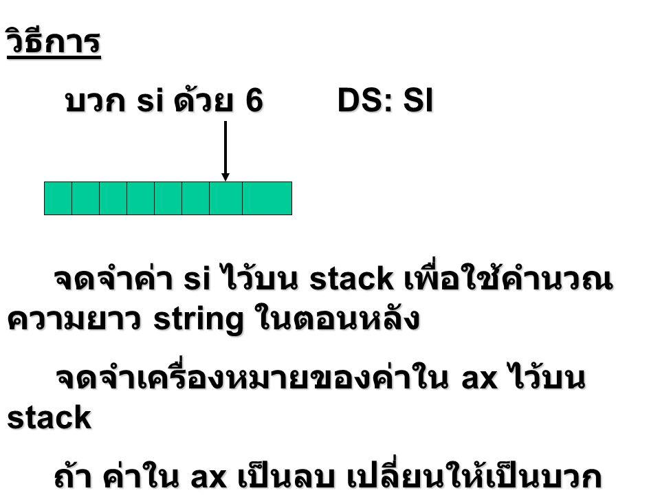 วิธีการ บวก si ด้วย 6 DS: SI. จดจำค่า si ไว้บน stack เพื่อใช้คำนวณความยาว string ในตอนหลัง.