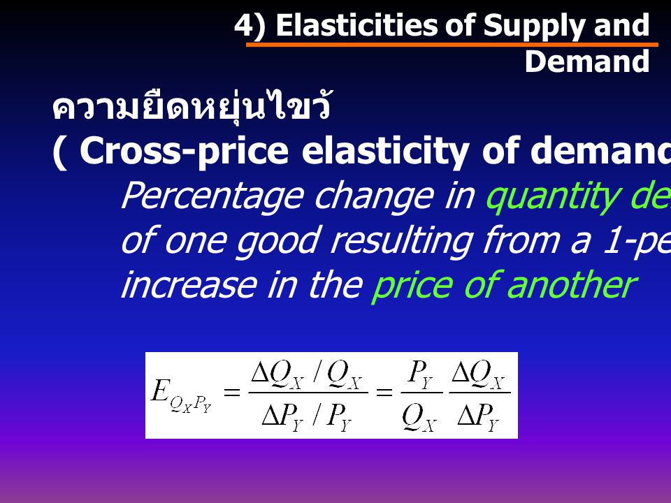 ( Cross-price elasticity of demand) คือ