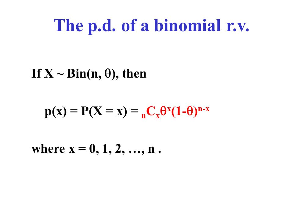 The p.d. of a binomial r.v. If X ~ Bin(n, ), then