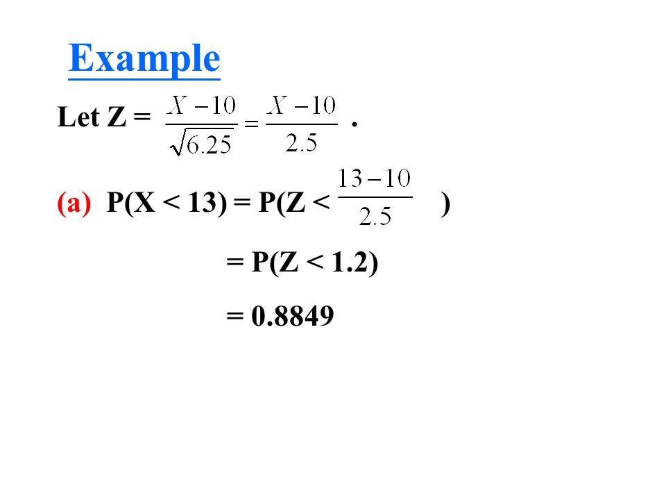 Example Let Z = . (a) P(X < 13) = P(Z < ) = P(Z < 1.2)
