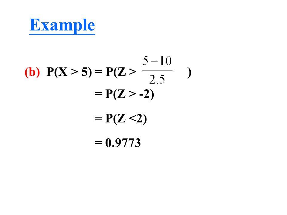 Example (b) P(X > 5) = P(Z > ) = P(Z > -2) = P(Z <2)