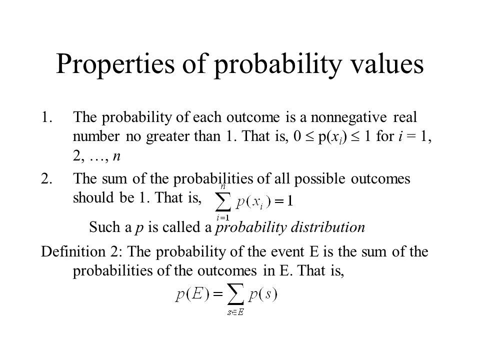 Properties of probability values