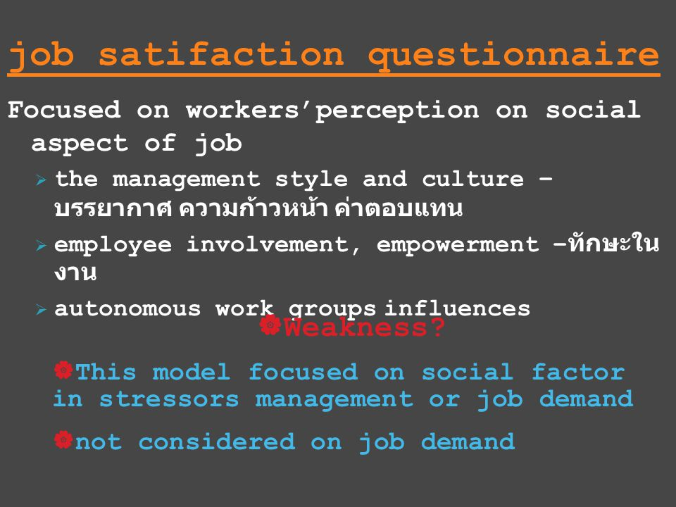 job satifaction questionnaire