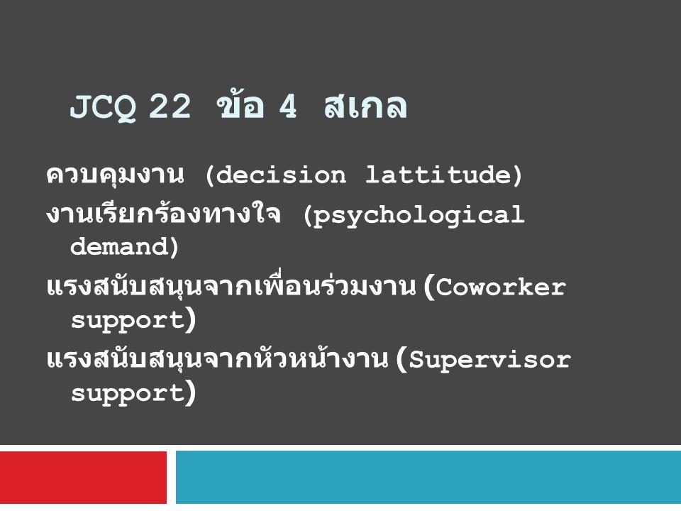 JCQ 22 ข้อ 4 สเกล ควบคุมงาน (decision lattitude)