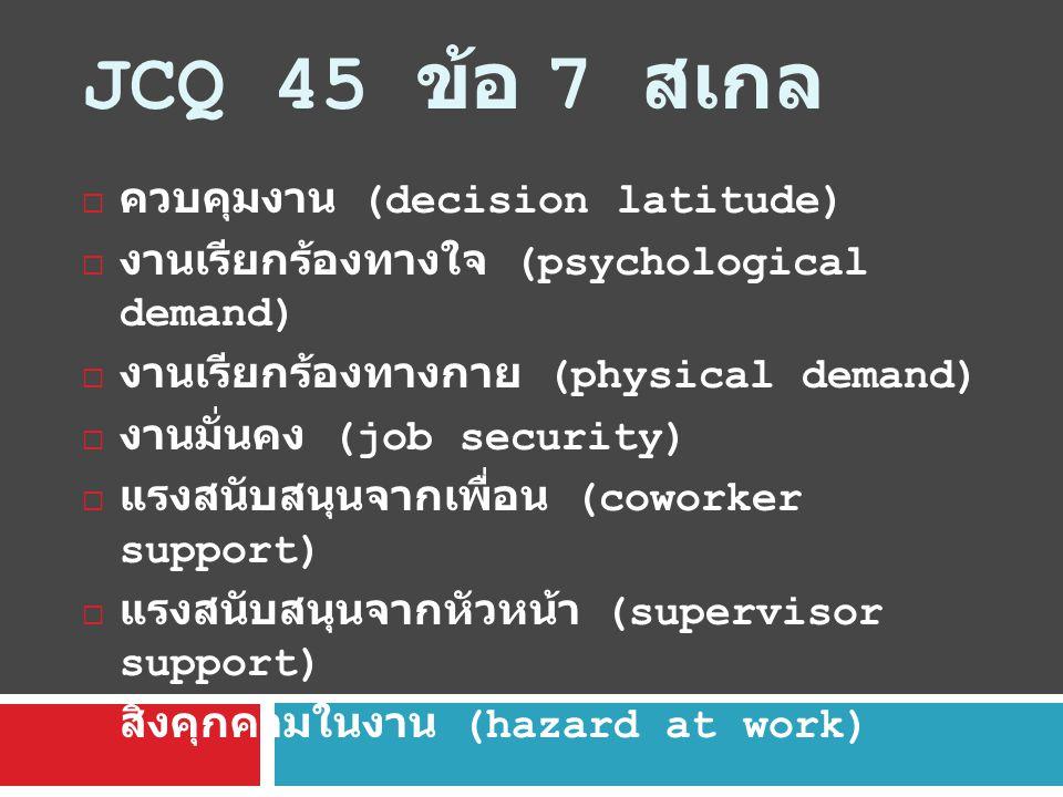 JCQ 45 ข้อ 7 สเกล ควบคุมงาน (decision latitude)
