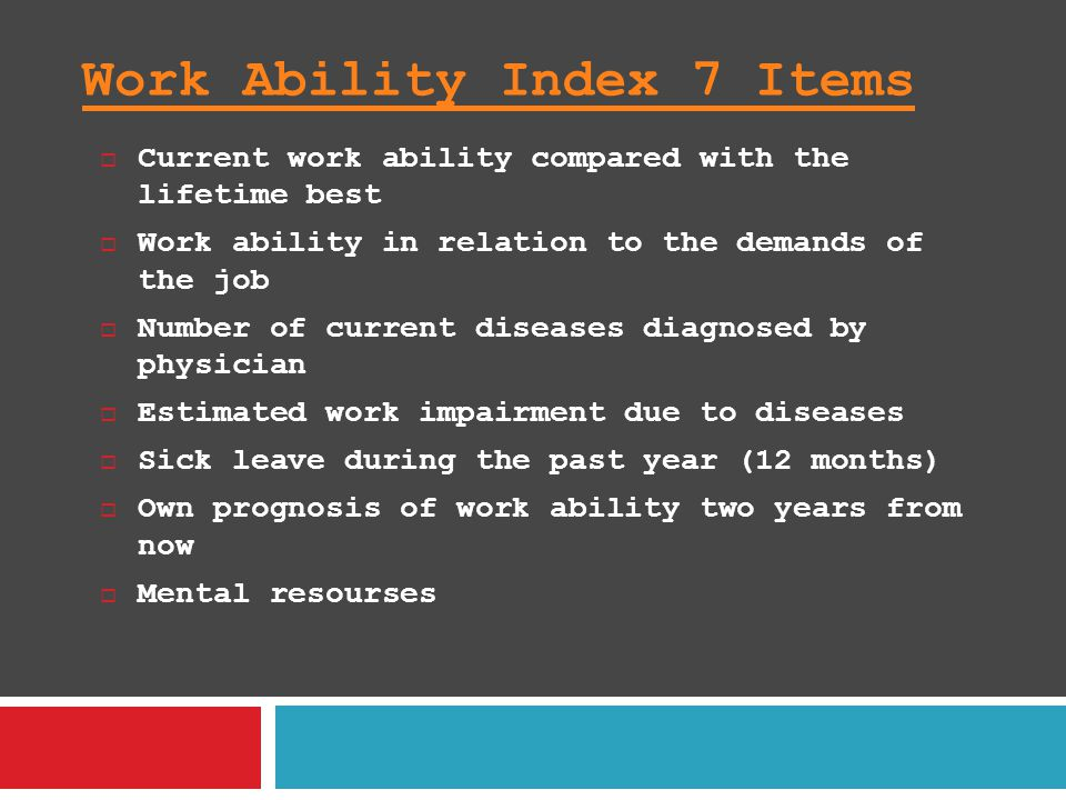 Work Ability Index 7 Items