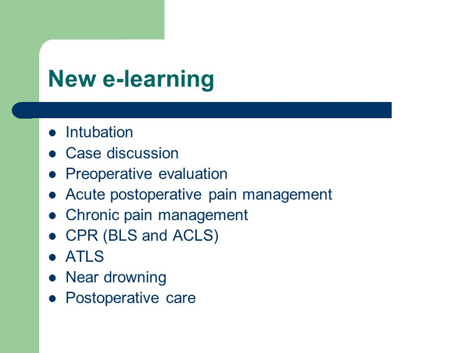 New e-learning Intubation Case discussion Preoperative evaluation