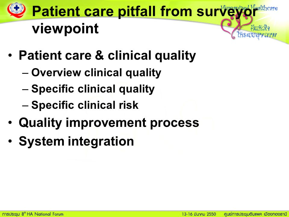 Patient care pitfall from surveyor viewpoint