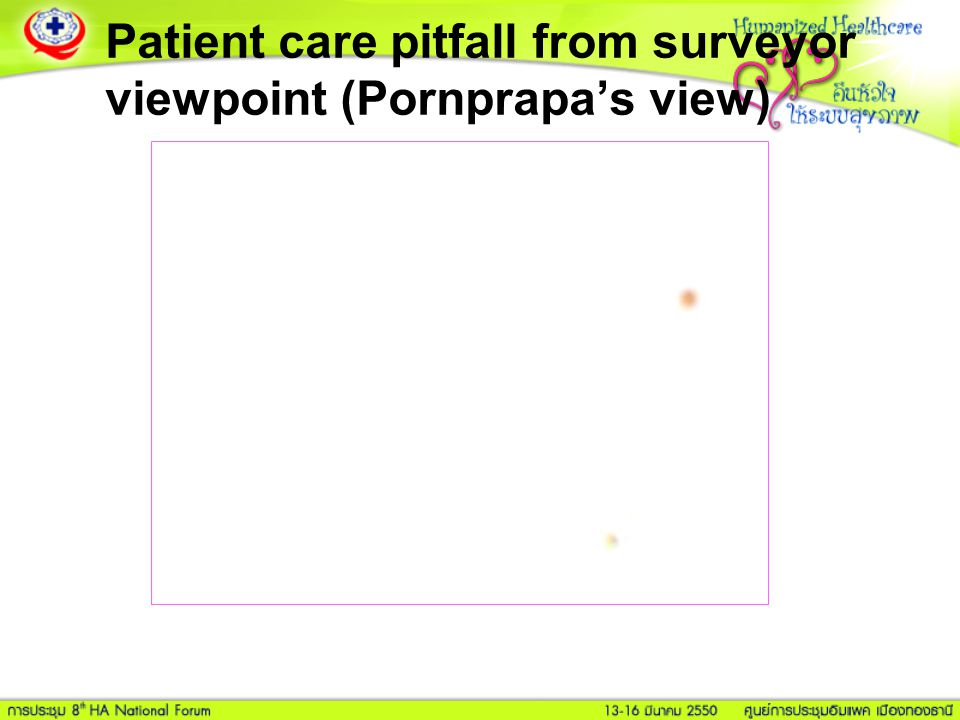 Patient care pitfall from surveyor viewpoint (Pornprapa's view)