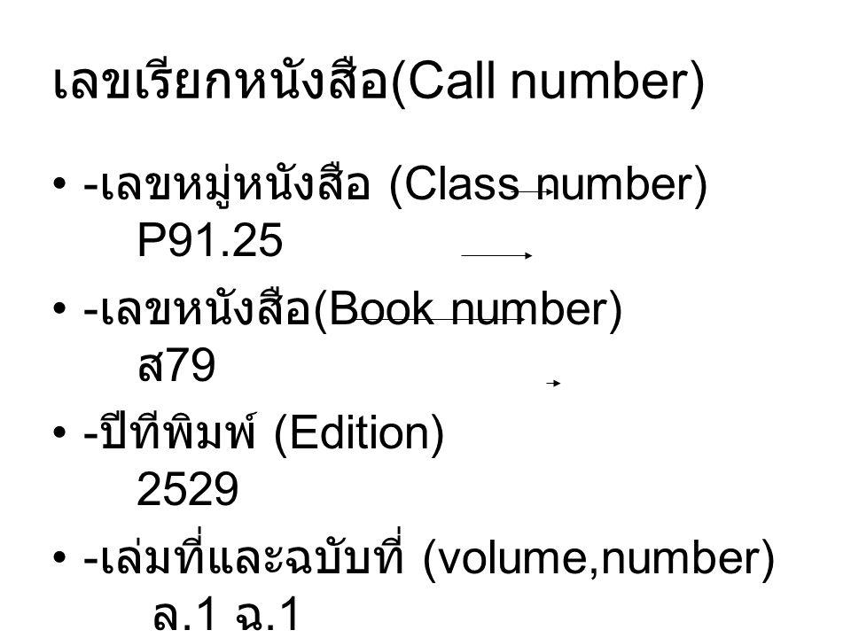 เลขเรียกหนังสือ(Call number)