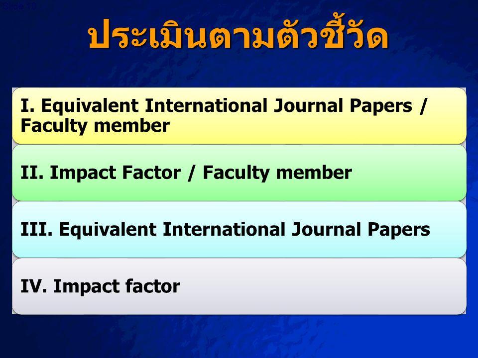ประเมินตามตัวชี้วัด I. Equivalent International Journal Papers / Faculty member. II. Impact Factor / Faculty member.