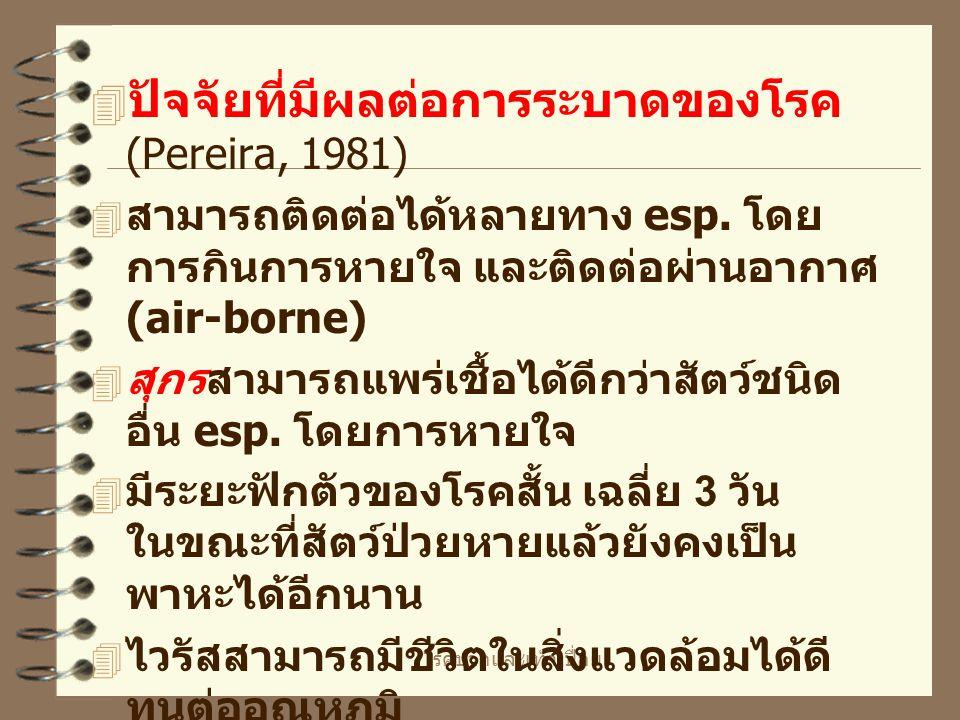 ปัจจัยที่มีผลต่อการระบาดของโรค (Pereira, 1981)