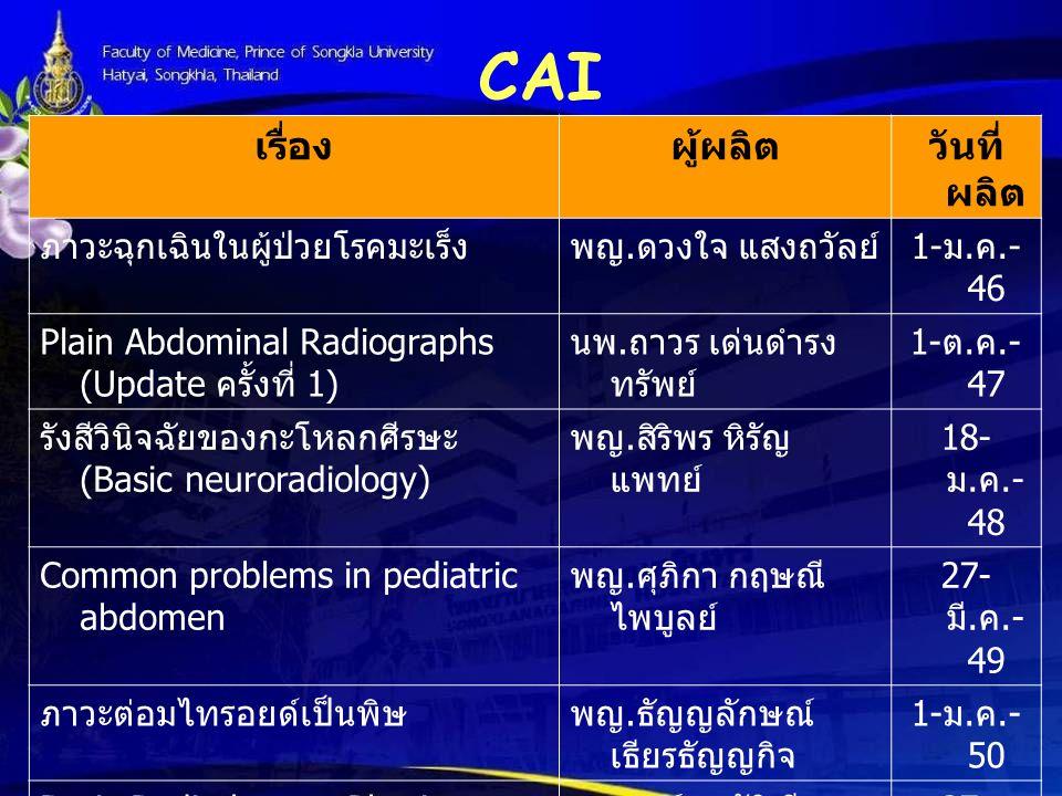 CAI เรื่อง ผู้ผลิต วันที่ผลิต ภาวะฉุกเฉินในผู้ป่วยโรคมะเร็ง