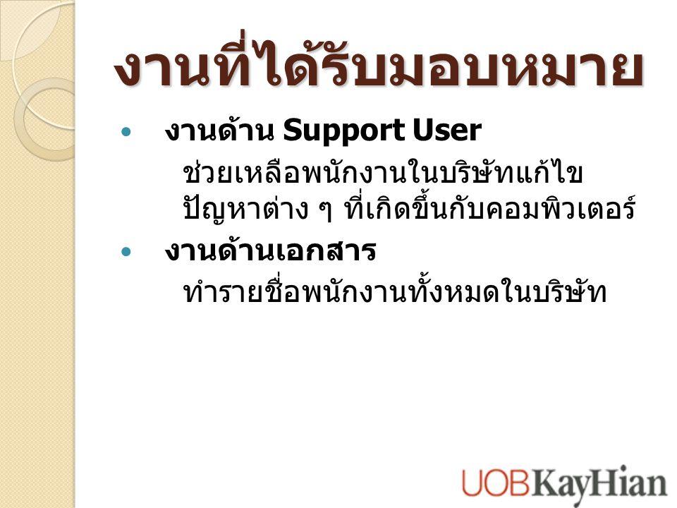 งานที่ได้รับมอบหมาย งานด้าน Support User