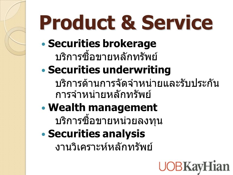 Product & Service Securities brokerage บริการซื้อขายหลักทรัพย์