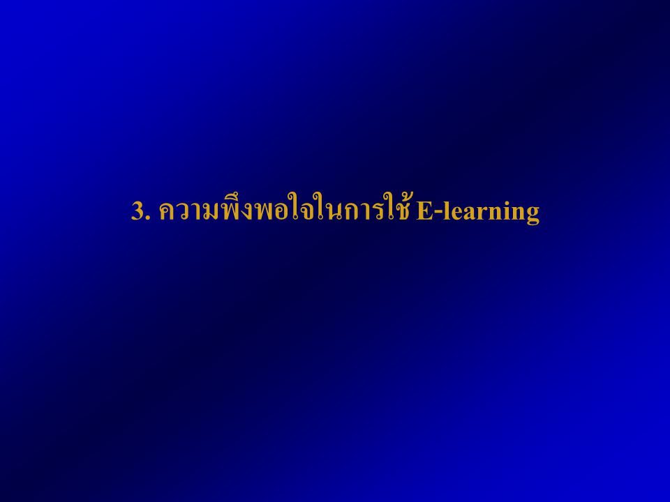 3. ความพึงพอใจในการใช้ E-learning