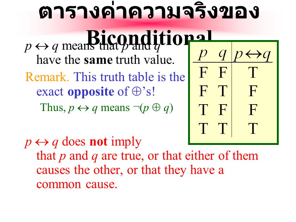 ตารางค่าความจริงของ Biconditional