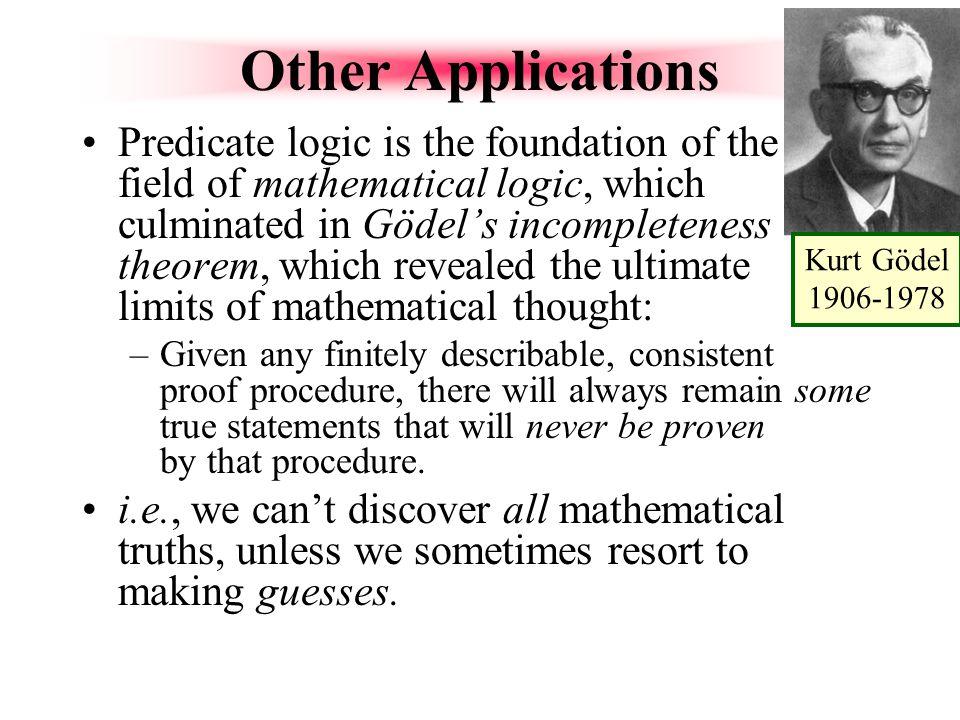 Kurt Gödel 1906-1978 Other Applications.