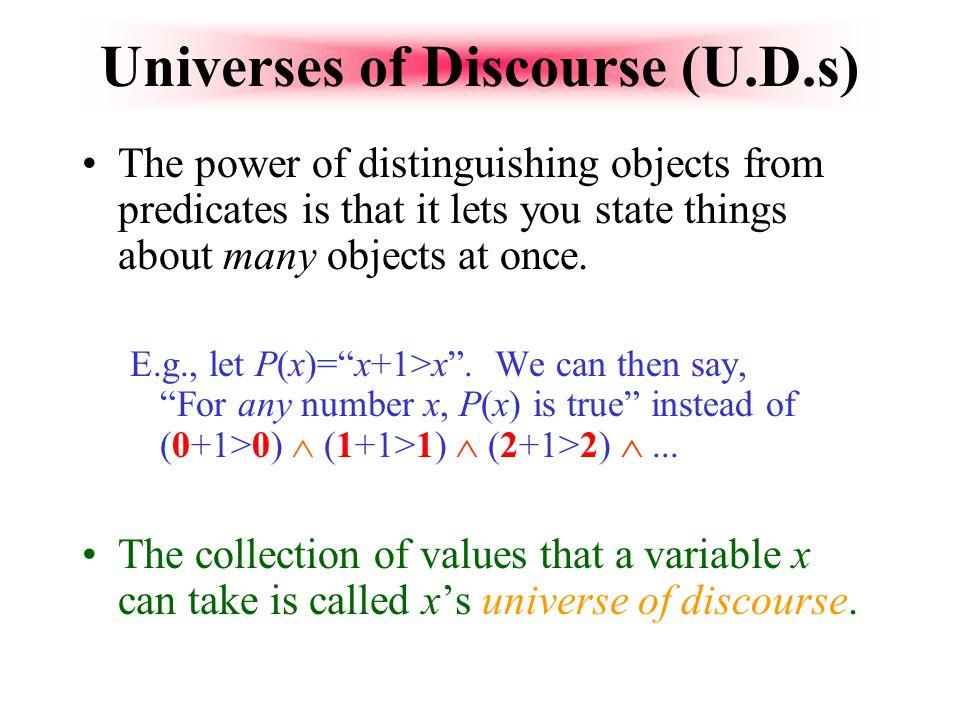Universes of Discourse (U.D.s)